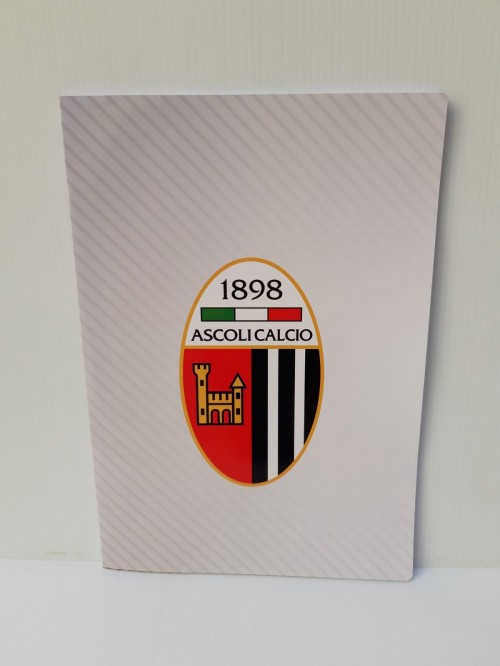 OFFICIAL STRIPED NOTEBOOK ASCOLI CLACIO WHITE COVER WITH EMBLEM
