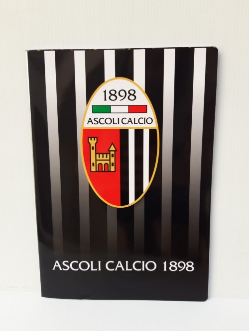 OFFICIAL STRIPED NOTEBOOK ASCOLI FOOTBALL COVER WHITE BLACK