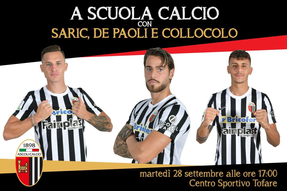 A Scuola Calcio con Saric, De Paoli e Collocolo: martedì evento al C.S. Tofare.