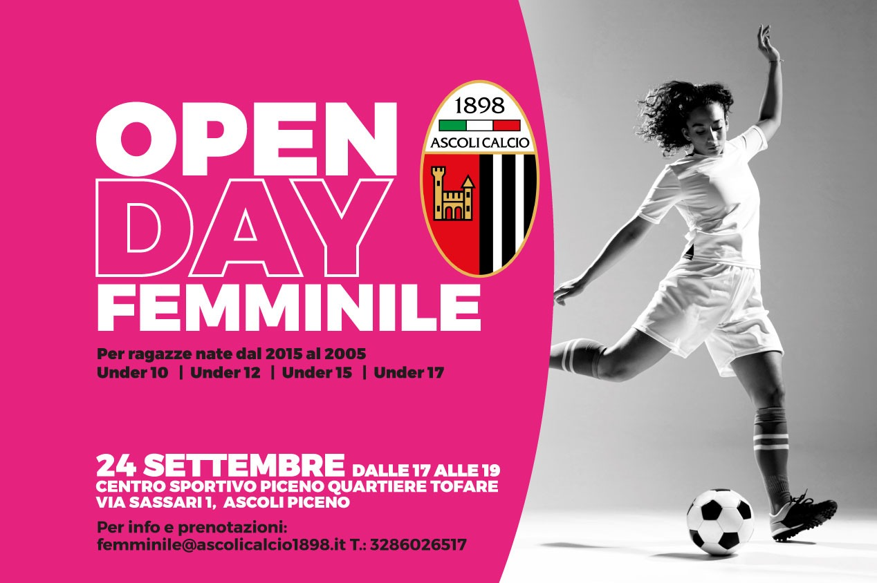 OPEN DAY calcio femminile il 24 settembre al C.S. Piceno.